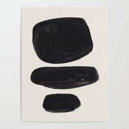 Mid Century Modern Minimalist Abstract Art Brush Strokes Black & White Ink Art Tribal Pebbles Poster