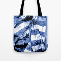 bands Tote Bags featuring Blue Bands by Motif Mondial