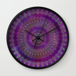Precious Mandala in rich purple and pink tones Wall Clock