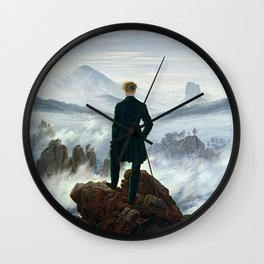 Wanderer above the Sea of Fog Painting by Caspar David Friedrich Wall Clock
