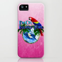 Pink Island Time Surfing iPhone Case