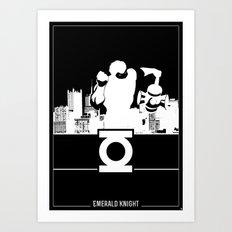 Green Lantern Silhouette Black & White Art Print