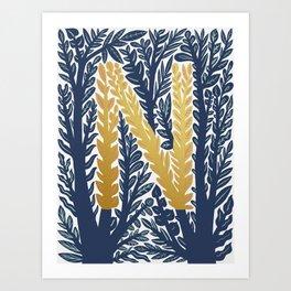 Botanical Metallic Monogram - Letter N Art Print