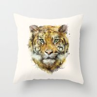 tiger Throw Pillows featuring Tiger // Strength by Amy Hamilton