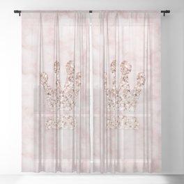 Rose gold - crown Sheer Curtain