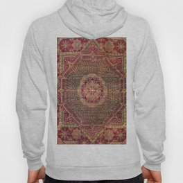 Bohemian Medallion IX // 15th Century Old Distressed Red Green Coloful Ornate Accent Rug Pattern Hoody