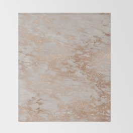 Rose Gold Copper Glitter Metal Foil Style Marble Throw Blanket