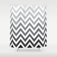 tina crespo Shower Curtains featuring TINA CHEVRON 4 by JUNE blossom