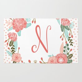 Monogram N - cute girls coral florals flower wreath, coral florals, baby girl, baby blanket Rug