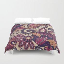 Maroon Boho Paisley & Floral Pattern Duvet Cover