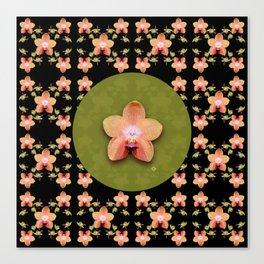 Magenta Peach Phalaenopsis Orchid Pattern Canvas Print