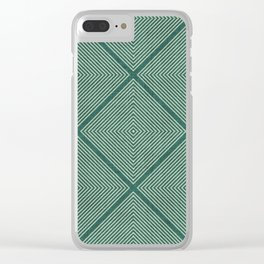 Stitched Diamond Geo Grid in Green Clear iPhone Case
