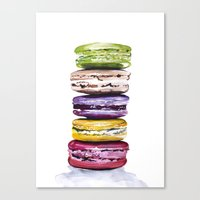 macarons Canvas Prints featuring Macarons by Bridget Davidson