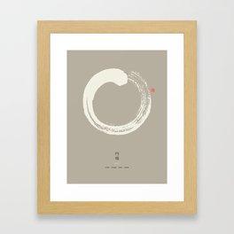 Beige Enso / Japanese Zen Circle Framed Art Print