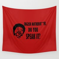 pulp fiction Wall Tapestries featuring english .... pulp fiction by Buby87