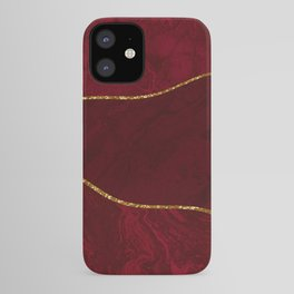 Organic Marbled Pattern Ruby Red iPhone Case