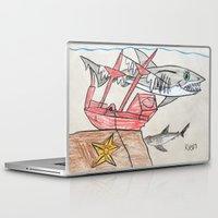 nursery Laptop & iPad Skins featuring Shark Nursery by Ryan van Gogh