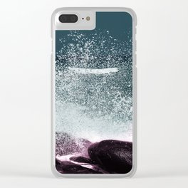 Navy Blue Sea Water Clear iPhone Case