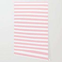Large White and Light Millennial Pink Pastel Cabana Tent Stripe Wallpaper