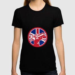British Construction Worker Union Jack Flag Icon T-shirt