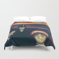 anxiety Duvet Covers featuring Anxiety by Edvard Munch by Palazzo Art Gallery