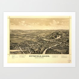 Aerial View of Pittsfield, Maine (1889) Art Print