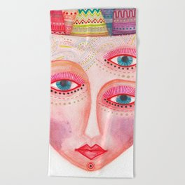 girl with the most beautiful eyes mask portrait Beach Towel