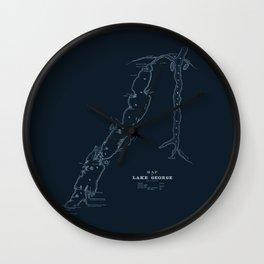 1853 Map of Lake George (navy) Wall Clock