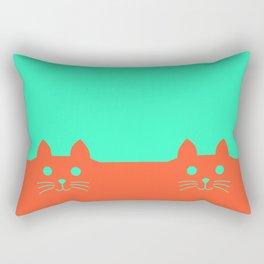 Meow Orange Turquoise Rectangular Pillow