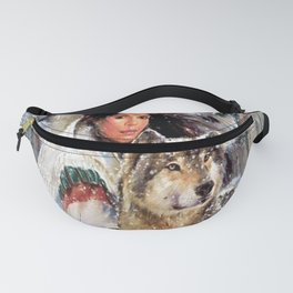 Mountain Woman With Wolfs Fanny Pack