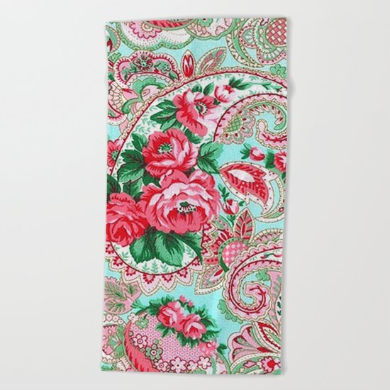 Floral Paisley Pattern 01 Beach Towel