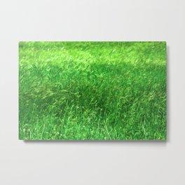 Hypnotizing green green grass field, relaxing landscape oil paint nature design Metal Print