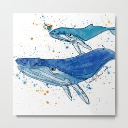 Whale Mommy and Baby Metal Print