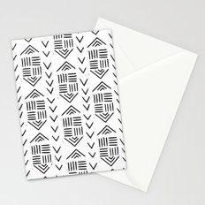 mudcloth 7 minimal textured black and white pattern home decor minimalist Stationery Cards