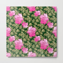 Lovely tropical pattern with pink hibiscus flowers Metal Print