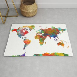 World map watercolor 3 Rug