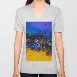 Blue and Summer Gold Circular Abstract Art Unisex V-Neck