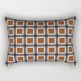 Chocolate Brown Plaid Pattern Rectangular Pillow
