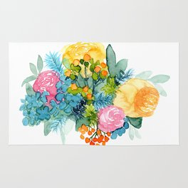 Colorful Watercolor Bouquet Rug