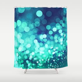 Aqua Blue Glitter Wave Shower Curtain