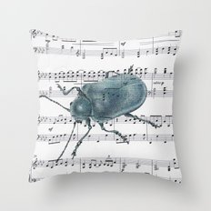 Music Beetle Throw Pillow