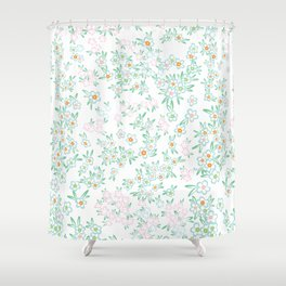 Forget me nots on white - in memory... Shower Curtain