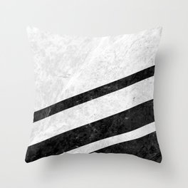 White Striped Marble Throw Pillow