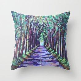 Kauai Tree Tunnel Throw Pillow