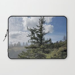 Gnarled Tree Against Blue Sky and Clouds, Beautiful Landscape of Old Tree Laptop Sleeve