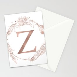 Letter Z Rose Gold Pink Initial Monogram Stationery Cards