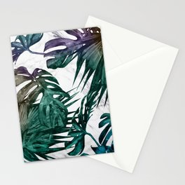 Tropical Palm Leaves on Marble Stationery Cards