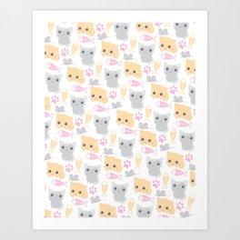 Chibi Kittens Pattern Art Print