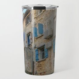 Little alley in the medieval center of the village Rovinji at sunset Travel Mug
