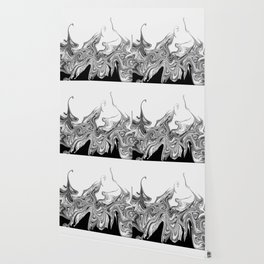 Modern contemporary Black and White Abstract Wallpaper